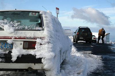 A sudden blast of ice on Mt Wellington