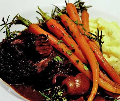 Braised shin of black angus beef